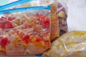 freezer meal ingredients in ziploc bags