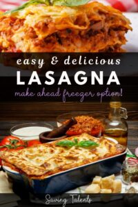 """a lasagna with text overlay that reads """"easy and delicious lasagna,"""