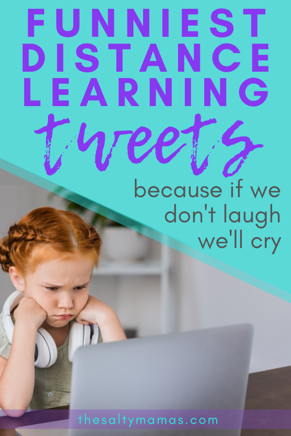 little girl on computer; text: funniest distance learning tweets