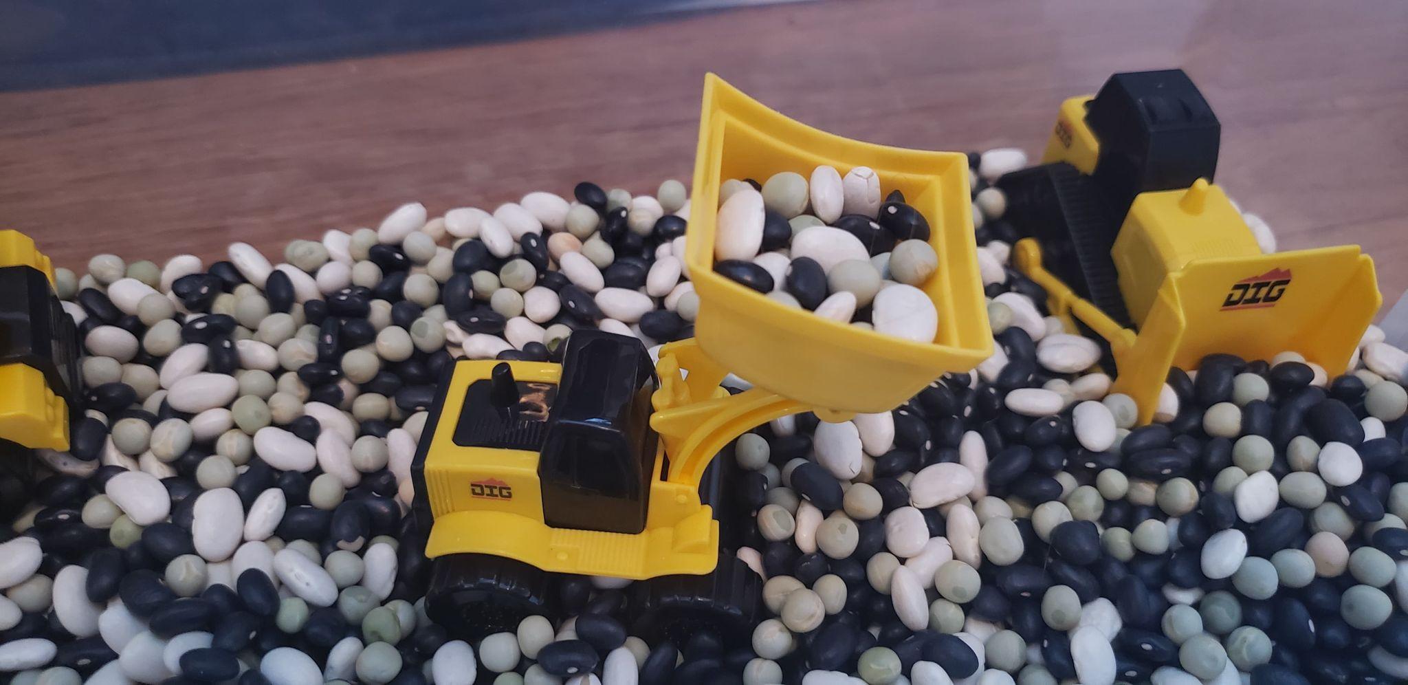mini bulldozer lifting dry beans