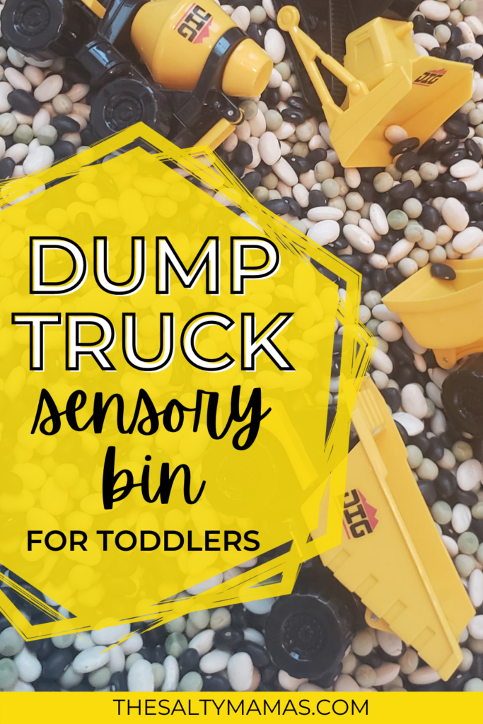 trucks in a bean-filled bin; text overlay: dump truck sensory bin