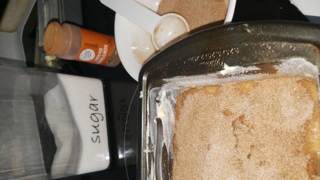 cinnamon sugar topping on banana bread